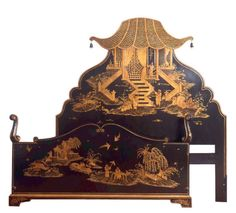 Lacquered Black Chinoiserie Bedframe,   United Kingdom