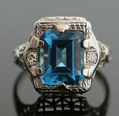 Antique Blue Topaz Ring by SITFineJewelry on Etsy