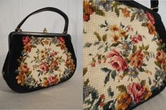 Late 1940s early 1950s Needlepoint Tapestry Handbag with petite floral pattern    This STUNNING handbag is a lovely statement piece. The