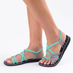 23fed399158d50 Palm Leaf Turquoise-Zebra – Plaka Sandals. Summer Shoes