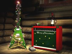 Dig that Flying V Guitar wrapped in Christmas lights! :D We have a Flying V Guitar blinky pin - check it out, fellow musicians and gearheads: http://www.flashingblinkylights.com/themes/music-lovers.html
