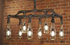 Industrial Plumbing Pipe Beer Bottle Light Fixture by TMLStudios
