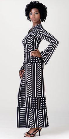 African inspired ensemble in black and white print