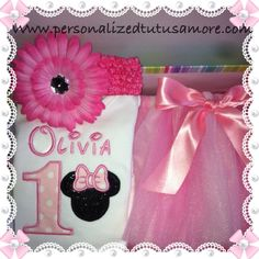 Miss Olivia's  baby girls Minnie Mouse inspired ligth pink party dress up. With personalised onesie (name and number) and tutu skirt ~ perfect for first 1st birthdays and cake smash ideas all made and sent from Melbourne Australia