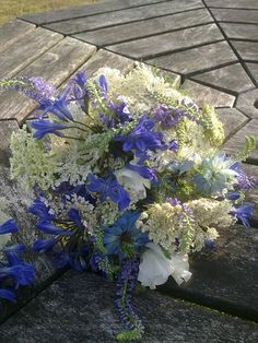 Tora's bouquet - cornflowers, love in the mist & agapathus