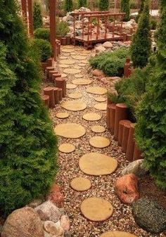 Ideas to Recycle Tree Stumps for Garden Art and Yard Decorations yard decorations recycling tree stumps and backyard landscaping ideas down by campfire ring.yard decorations recycling tree stumps and backyard landscaping ideas down by campfire ring. Diy Garden, Garden Paths, Garden Art, Garden Design, Garden Ideas, Garden Types, Wooden Garden, Tree Garden, Garden Cottage