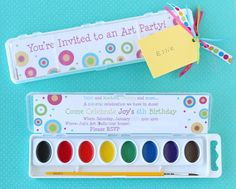 Art Birthday Watercolor Paint Box Invitation- by Glorious Treats