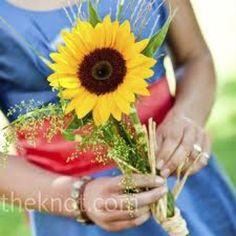 Sweet for a southern wedding!   sunflower single flower bouquet