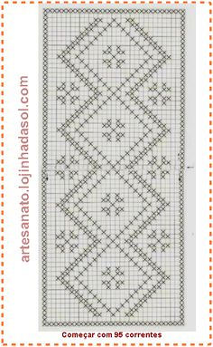 Artesanato Lojinha da Sol: Caminho de mesa de crochê filê, encomenda concluida e enviada Crochet Flower Patterns, Doily Patterns, Crochet Flowers, Cross Stitch Patterns, Knitting Patterns, Crochet Curtains, Crochet Doilies, Crochet Lace, Filet Crochet Charts