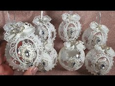 Роскошные Новогодние игрушки #Marine_DIY_Guloyan - YouTube Shabby Chic Christmas Ornaments, Diy Christmas Ornaments, Christmas Tree Decorations, Holiday Crafts, Holiday Decor, Projects To Try, Crochet, Gifts, Christmas Baubles