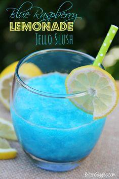 Blue Raspberry Lemonade Jello Slush - Perfect for picnics and BBQs! Non-alcoholic or add a little vodka to turn it into an Electric Lemonade! (slushy alcohol drinks vodka)