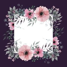 Floral Frame With Dark Background Vector and PNG Backgrounds Free, Flower Backgrounds, Wallpaper Backgrounds, Happy Birthday Floral, Flower Png Images, Birthday Display, Vintage Photo Frames, Summer Banner, Beautiful Flower Designs