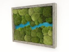 Azure River The Water Collection Preserved by VermontCraftStudio Vertical Garden Plants, Vertical Garden Design, Moss Wall Art, Moss Art, Natural Wood Decor, Water Collection, Farmhouse Style Decorating, Home Wall Decor, Handmade Home Decor