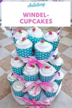 Anleitung für Windel Cupcakes. Geschenkidee zur Geburt. Windeltorte. Einfaches DIY Windel Cupcakes. Windel Cupcakes selber machen. #windelcupcakes #geschenkezurgeburt #geschenkideebaby
