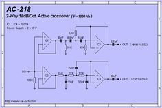 2-WAY 18dB/Oct. ACTIVE CROSSOVER PCB Diy Amplifier, Class D Amplifier, Audio Box, Audio Speakers, Audio Crossover, Hinge And Bracket, Simple Circuit, Electronic Schematics, Circuit Diagram