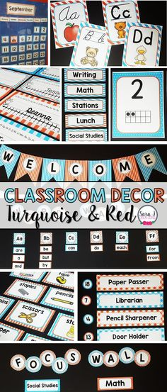 Turquoise and Red classroom decor is a way to make your elementary classroom bright and colorful. Includes 400 pages and is editable so you can personalize it for your classroom. Don't forget to grab your FREE matching classroom quotes posters! Red Classroom, Classroom Jobs, Classroom Quotes, Classroom Decor, Classroom Freebies, Classroom Organization, 2nd Grade Teacher, Teaching First Grade, Elementary Teacher