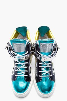 There is nothing wrong with this GIUSEPPE ZANOTTI Metallic teal and yellow London Donna Sneakers