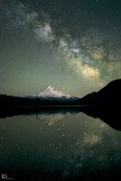 Milky Way reflecting off Lost Lake near Mt. Hood, OR.