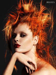orange hair - flame hair - hair cut - creative hair artistic hair - - hair color concept - harpers bazaar magazine- bazaar magazine beauty : hair nicolas jurnjack, photo : nico bustos make up : jordi fontanals model : stef van der lann, styling : juan cebrian / melania pan
