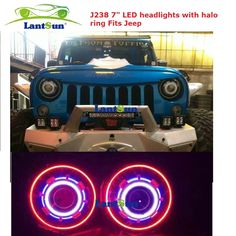250.00$  Watch now - http://aijpz.worlditems.win/all/product.php?id=1000001529988 - Pair hot sale NJ238 7 inch 35W round LED projector headlight with red led halo ring angel eyes fits jeep wrangler jk CJ TJ LJ