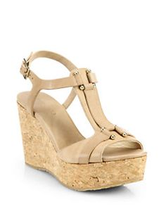 Jimmy Choo - Pilar Leather Cork Wedge Sandals