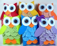 Owl Pillow Box Party Favors - Set of 10 - You Choose Colors Owl Crafts, Diy Crafts For Kids, Toilet Paper Roll Crafts, Paper Crafts, Owl Birthday Parties, Owl Classroom, Creative Gift Wrapping, Pillow Box, Craft Fairs