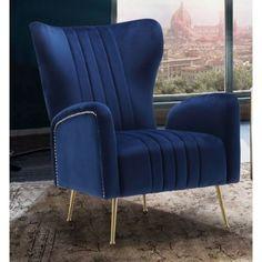 Teal Home Accents Blue Velvet - Navy Blue Velvet High Back Lounge Chair.