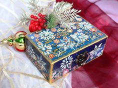 Blue Christmas Jewelry box    Christmas by ArtKaleydoskop2015
