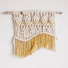 Macrame Weaving Yellow Colorful Wall Hanging Tapestry Decor by hellohydrangea Weaving Wall Hanging, Tapestry Wall Hanging, Wall Hangings, Diamonds In The Sky, Macrame Design, Macrame Art, Chunky Yarn, Thick Yarn, Macrame Projects
