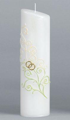 Hochzeitskerze, 2248, Oval 240x65x45, grün, weiß, Perlmutt, gold
