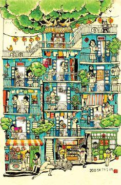 M'agrada veure aquest tipus d'il·lustració on es pot contemplar com viuen en una comunitat de veïns.