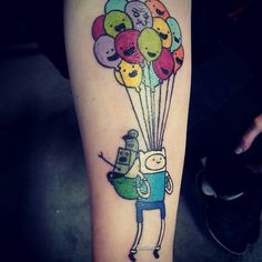 Adventure Time tattoo with neptr and the joker balloons. :)