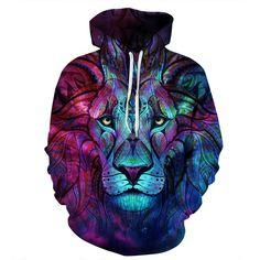 New Mens Womens Lion 3D Hoodies Sweatshirt Pants Tracksuit Sweat Suit