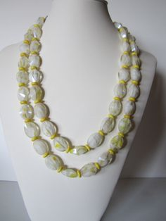 Classic Yellow and white  double strand necklace Summer by yasmi65, $32.00