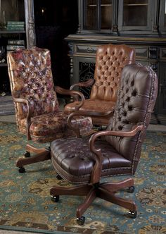 Leather Tufted Executive Chairs. Brumbaugh's Fine Home Furnishings