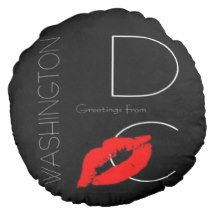 Greetings from Washington D.C. Red Lipstick Kiss Round Pillow