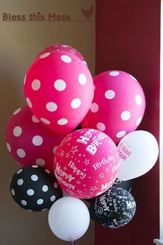 use pink polka dot balloons