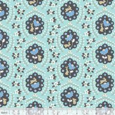 By Yard Blend Fabric Ana Davis Born Wild Bunny Patch Blue - rabbit floral Patchwork Patterns, Quilt Patterns, Sewing Patterns, Quilting Projects, Sewing Projects, Wild Bunny, Cute Bunny, Bunny Rabbit, Modern Fabric
