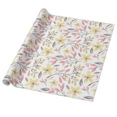 Pretty Pink, Yellow, and Gray Floral Patterned Wrapping Paper. #wrappingpaper