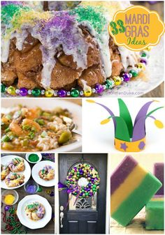 Need some Mardi Gras ideas? Here are 33 Mardi Gras Ideas with recipes, crafts, and decor! Holiday Treats, Holiday Parties, Holiday Fun, Holiday Recipes, Holiday Decor, Mardi Gras Food, Mardi Gras Party, Diy Spring, New Orleans Mardi Gras