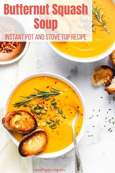 This rich and creamy butternut squash soup can be made in your Instant Pot or your stove – and it's naturally low-carb. #ministryofcurry #soup Quick Soup Recipes, Curry Recipes, Easy Chicken Recipes, Healthy Recipes, Quick Appetizers, Appetizer Recipes, Stove Top Recipes, Biryani Recipe, Vegetarian Soup