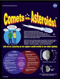 """A free four-page """"fun fact"""" brochure from NASA about comets and asteroids—what makes them similar and what makes them different. Lots of fun facts, plus a comet vs. asteroid wordfind."""