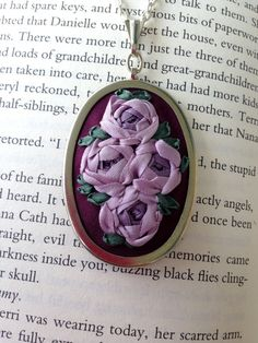 Purple Hand Embroidered Rose Pendant  Silk handmade by BeanTown Embroidery on etsy