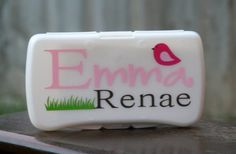 Bird & Flowers Personalized Baby Wipes Case - Travel Size. $8.00, via Etsy.