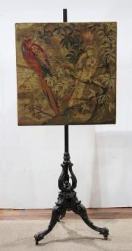English needlepoint firescreen circa 1850, the screen having a rectangular form decorated with parrots, above the ebonized tripod ba... - Price Estimate: $1000 - $1500