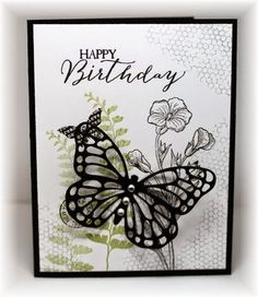 butterfly basics card by Becky.... pear, smoky slate and black..... (change sentiment)