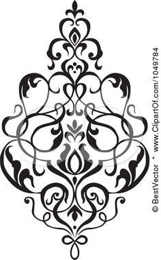 Royalty-Free (RF) Clip Art Illustration of a Black Vintage Elegant Damask Design Element - 2 by BestVector
