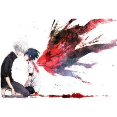 kaneki x touka Tokyo ghoul ❤ liked on Polyvore featuring anime, tokyo ghoul, backgrounds and manga
