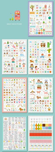 Set of 7 Sheets Transparent Deco Stickers (P114.3 - Blue). $6.00, via Etsy.