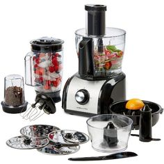 Andrew James Food Processor, 800W, Multifunctional, Includes Over 10 Different Attachments, 2.4L